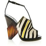 Jimmy Choo - Kascade Calf Hair And Leather T-bar Sandals