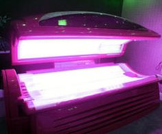 Pink tanning bed? Yes, please.