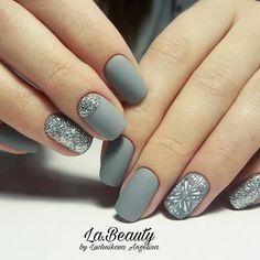 Matt Grey Glitter Nails