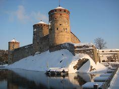 Three towers of Olavinlinna castle. Savonlinna, Finland.