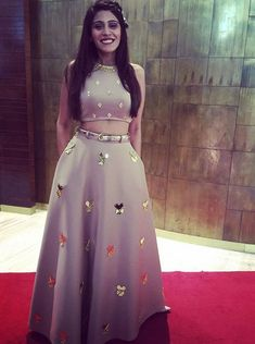 elegant 2 pieces grey prom party dresses, special formal evening gowns with beaded Floral Prom Dresses, Indian Gowns Dresses, Prom Party Dresses, Pakistani Dresses, Dress Party, Long Dresses, Dress Long, Lehenga Designs, Indian Designer Outfits