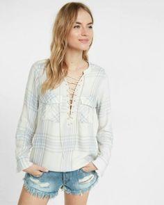 light plaid lace-up