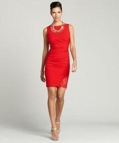 Aijek : red 'Last Kiss' lace insert shift dress : style # 323795502