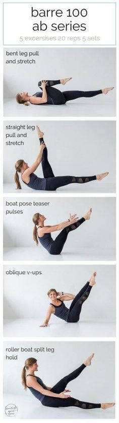 best barre exercises for flat abs - barre 100 ab series - pin this workout -- www.nourishmovelo...