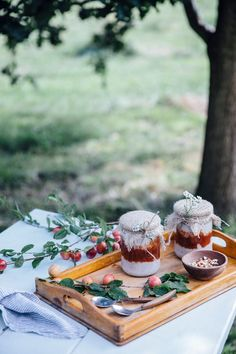 White Chia-Seed-Coconut-Pudding with Plum-Fig Compote