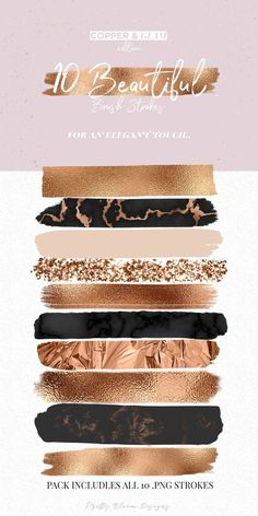 Copper & Glam Brush Strokes by Pretty Bloom Designs - Create something glamorous. Copper & Glam Brush Strokes by Pretty Bloom Designs – Create something glamorous with the Copper Web Design, Logo Design, Graphic Design, Branding Design, Colour Schemes, Color Combos, Ed Wallpaper, Copper Home Accessories, Gold Color Palettes