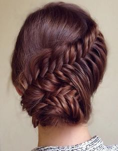 Cute Prom Updo Hairstyles 2015 Ideas: Lovely prom updo hairstyle 2015 with fishtail braid and bun