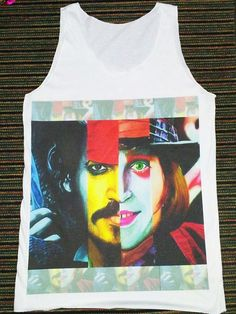 Johnny Depp Shirt -- Johnny Depp Funny T-Shirt Actor Film Movie T-Shirt Johnny Depp T-Shirt Women Tank Top Vest Tunic Sleeveless Size M