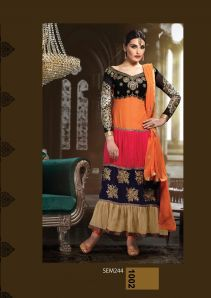 Orange Embroidered Semi Stitched Anarkali Suit|Dress Material|Ethnic Wear