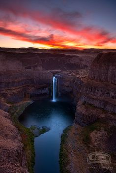 """FIRE FALLS"" - the Palouse Falls in the state of Washington at sunset by James Fougere"