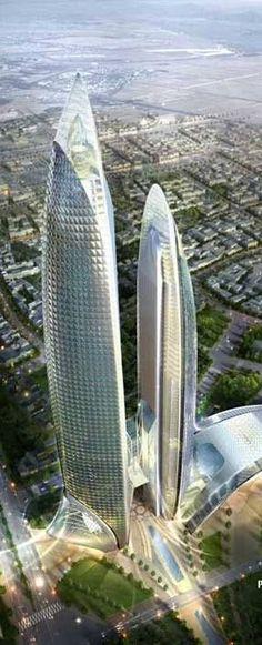 PetroVietnam Tower, Hanoi, Vietnam by Samoo Architects :: 79 floors, height 400m, proposal [Future Architecture: futuristicnews.co...]