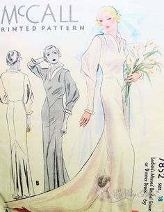 1930s Glamorous Wedding Dress Bridal Gown or Dinner Evening Dress Pattern McCall 7852 Breathtaking Deco Downton Abbey Style Vintage Sewing Pattern Bust 36