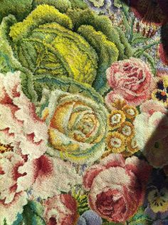 Confessions of an Oxfordshire stitcher: Kaffe Fassett continued. Needlepoint Designs, Needlepoint Stitches, Needlework, Creative Textiles, Hand Hooked Rugs, Ribbon Work, Wool Applique, Textile Art, Textile Fabrics