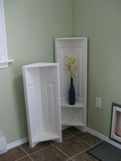 Corner Shelf made from re-purposed bi-fold doors