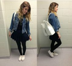 Levi's® Denim Jaket, Brandy Melville Tank, American Apparel Tennis Skirt, H&M Platform Sneakers