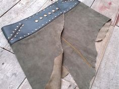 Leather Mini Skirt with Belt and Pocket - Grayish Olive x Black - Tribal Pixie Festival Burning Man Costume