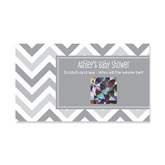 Chevron Gray - Personalized Baby Shower Scratch Off Cards - 22 ct   BigDotOfHappiness.com