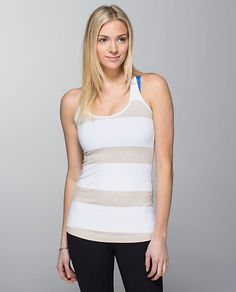 Cool Racer Back - stroll stripe heathered cashew white/white Lulu Love, Athletic Outfits, Racerback Tank, Lululemon Athletica, Basic Tank Top, Tank Tops, Casual, How To Wear, White White