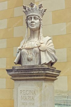 Bust of Queen Marie of Romania - Stock Photo , Marble Bust, Birds In Flight, Editorial Photography, Romania, Royalty, Sculpture, Queen, Statue, Stock Photos