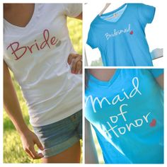 Bride, Maid of Honor, Bridesmaid tshirts. Wedding party / Bridesmaid gifts. Personalized with name or date. by AnchorAvenueDesigns on Etsy