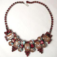Vintage Juliana D Saphiret and Garnet Red Rhinestone Five Link Japanned Necklace