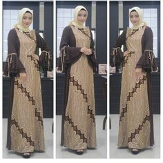 Image may contain: 3 people Batik Fashion, Abaya Fashion, Muslim Fashion, Fashion Dresses, Dress Brokat Muslim, Muslim Dress, Model Dress Batik, Batik Dress, Dress Batik Kombinasi