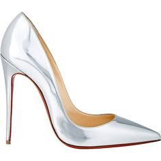 Christian Louboutin So Kate Pumps ($695) ❤ liked on Polyvore featuring shoes, pumps, heels, christian louboutin, scarpe, silver, christian louboutin pumps, leather slip on shoes, pointed toe high heel pumps and pointy-toe pumps
