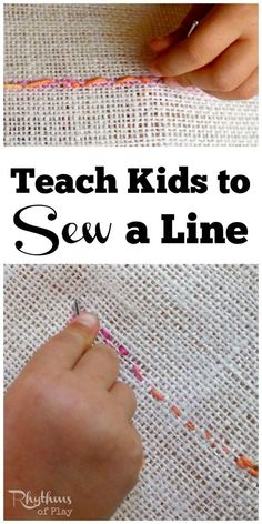 Learning to sew is an important home life skill. Teach kids to sew a line by hand using burlap and yarn for a simple beginning lesson in embroidery. Teaching kids to sew a running stitch is an easy homeschool learning project for preschoolers, elementary aged kids, tweens and teens. It is a fine motor activity that will help prepare the hand for writing and more detailed handwork projects. Sewing with kids is a fun and easy learning activity found in Waldorf and Montessori education.