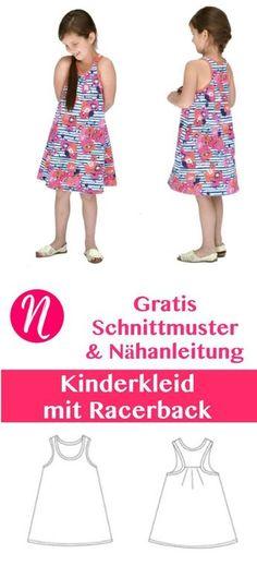 Freebook - Kinderkleid mit Racerback. PDF-Schnittmuster zum Ausdrucken. Gr. 74 - 140 ❤ Nähtalente - Magazin für kostenlose Schnittmuster ❤ Free sewing pattern for a nice girls dress with racerback. Size 1 - 8 years.