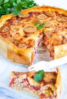 Need a recipe? Get dinner on the table with Food Network's best recipes, videos, cooking tips and meal ideas from top chefs, shows and experts. Chorizo, I Love Food, Good Food, Yummy Food, Quiches, Food Network Recipes, Cooking Recipes, Oven Dishes, Savoury Baking