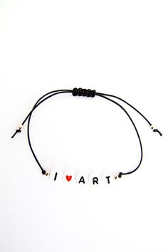 Personalized Handmade Bracelet - Black satin cord + Black on white alphabets + 01 heart bead + Rose gold beads - Loving Memento