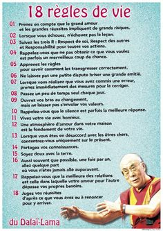Aujourd'hui / les 18 règles de vie du Dalaï Lama: Today / the 18 rules of life of the Dalai Lama: Attitude Positive, Positive Vibes, Positive Quotes, Yoga Online, Alo Yoga, Burn Out, Quote Citation, French Quotes, Visual Statements
