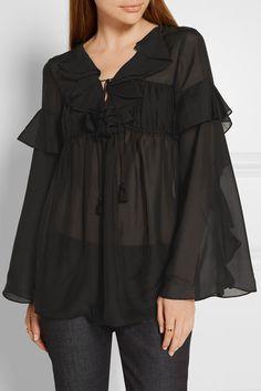 Black silk-georgette Slips on 100% silk Dry clean Imported
