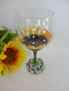 Hand Painted Personalized Sunflower Wine Glasses - Set of 2 (Min.) - GIFT WRAPPING AVAILABLE