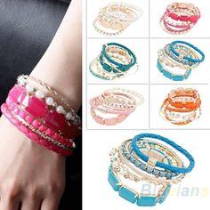 Fashion 6 Pcs One Set Fashion Women's Bohemia Beads Multi-storey Bracelet Bangle Bangles Dress Jewelry A5EA