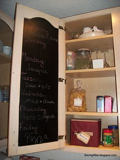 Use chalkboard paint on the inside of your kitchen shelves to get more organized with things like your weekly meals, recipes, and grocery lists!