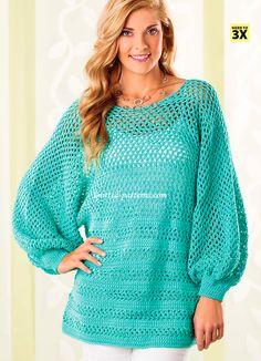 Peekaboo-Back Tunic ~ **Free Crochet Pattern**