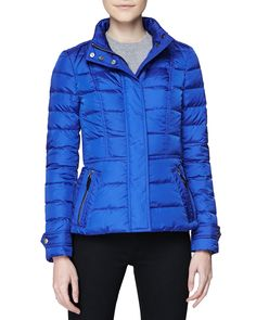 Short Feminine Puffer Jacket, Sapphire Blue