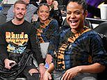 Pregnant Christina Milian has a ball at Lakers game with her French babydaddy Matt Pokora