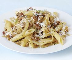 This hearty fall pasta gets a double dose of fennel flavor, from both fresh fennel and fennel seed in the sausage. Fennel Recipes, Pork Recipes, Pasta Recipes, Cooking Recipes, Healthy Recipes, Cooking Tips, Sausage Recipes, Bon Appetit, Kitchens