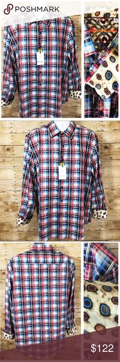 Robert Graham Red Multi 'Rift Valley' Classic Fit Robert Graham Red Multi 'Rift Valley' Classic Fit Sport Shirt 3XL MSRP $248 Brand new with tags.  Red. Blue. Black.Geometric Print. Flip reversible Cuffs. Robert Graham Shirts Casual Button Down Shirts