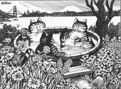 """other ORIGINAL Kliban Book Plates-1979 Follow Me Kids/"""" Cat Art Print"""