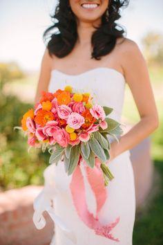 Vibrant #bouquet | Read More: http://www.stylemepretty.com/california-weddings/2014/04/23/pink-orange-san-luis-obispo-wedding-at-windfall-farms/