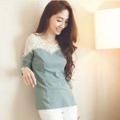 "@cs.ordersis's photo: ""Long Sleeve : CY50331 GREEN ""Original : china Fabric: Cotton + Lace Shoulder: 35cm Sleeve: 58cm Bust: 82cm Waist: 74cm Length: 62cm 240grams"" Rp113,000  #longsleeve #blouse #blus #ordersis"""