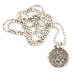 Je t'aime ketting - I love the text of this lovely necklace:   je t'aime plus qu'hier moins que demain    by @Applepiepieces