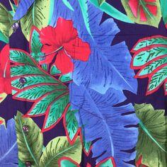 Men's #HiloHattie #Hawaiian Shirt XL Red Hibiscus Flower Blue Tropical Leaves USA