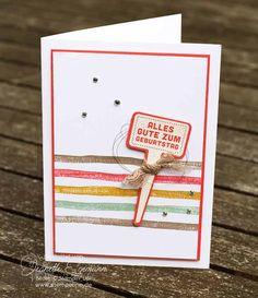 Stampin Up Geburtstagskart für die Frau  Verwendete Stampin´ Up! Stempelsets: Brushstroke Hintergrundstempel und Gut beschildert