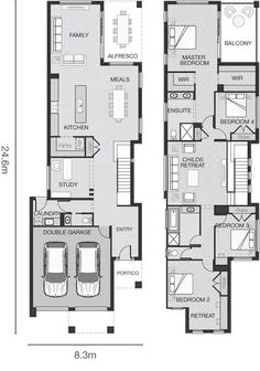 Modern Narrow House Plans - Modern Narrow House Plans , Modern House Plans On Narrow Lot – Modern House Double Storey House Plans, Narrow Lot House Plans, Two Story House Plans, Garage House Plans, Family House Plans, House Floor Plans, The Plan, Luxury House Plans, Modern House Plans