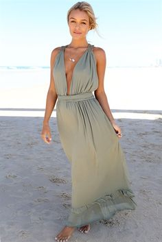 """Muse Maxi Dress   Outer: 100% Polyester Lining: 95% Polyester 5% Spandex *Length: 58"""" Across Waist: 12""""   Elasticated"""