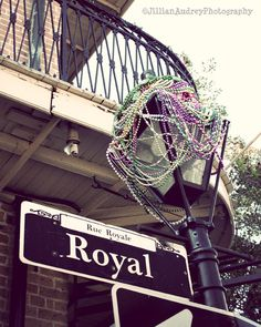 Royal Street, street lamp and Mardi Gras beads. Perfect picture